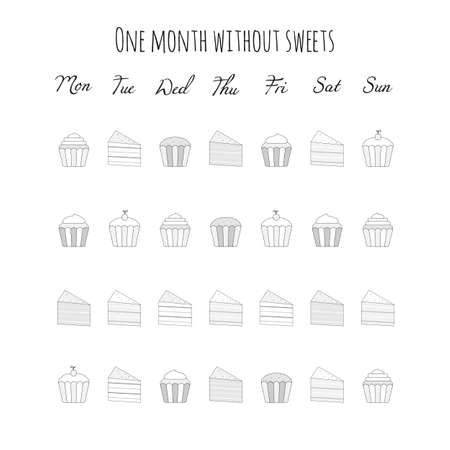 Vector illustration for printable with sweets, cakes and muffins on white background. Planner of tracker without sweets for bullet journal page, daily planner template, blank for notebook. A4 sheet.