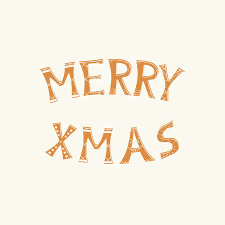 Vector isolated text in gingerbread style Merry Christmas on white background. For greeting card, party invitation, post in social media or mailing, poster, cover, web and advertising banner, flyer.
