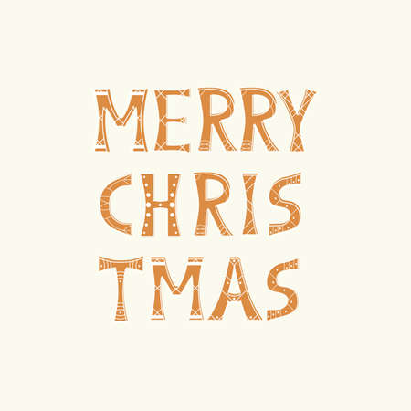 Vector isolated text in gingerbread style Merry Christmas on white Ilustração