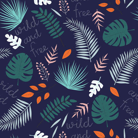 Seamless pattern of tropical leaves Ilustração