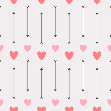 Valentine seamless pattern with hearts and arrows on white Ilustração