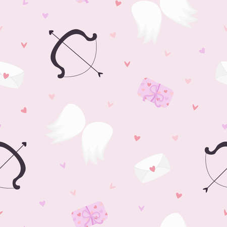 Vector seamless pattern with cupid's bow, wings, presents etc on pink background. For wallpaper, gift and wrapping paper, greeting card and wedding invitations, textile, fabric and linen, pajamas.