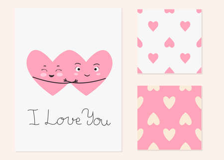 Vector illustration with two cartoon smiling hearts and inscription I Love You and seamless patterns with hearts. For Valentine's Day greeting card or party invitation and so print design for pajamas.