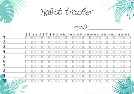 Printable A4 paper sheet with tropical leaves and lines for marks for fulfilled habits. Minimalist planner for bullet journal page, habit tracker, daily planner template, blank for notebook.