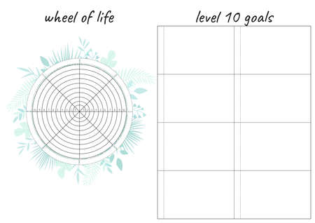 Printable A4 paper sheet with tropical leaves and Wheel of Life - diagram with blank lines to fill. Coaching tool for bullet journal page, daily planner template, blank for notebook.