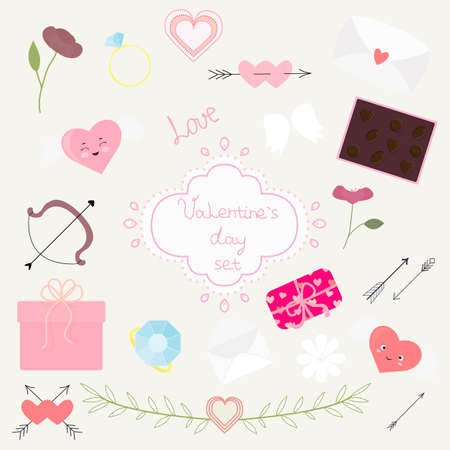 Vector Valentine's day set, design elements arrows, hearts, flowers, rings and present. For invitations, Valentine or wedding greeting cards, template for poster, banner, decoration design, print. Ilustração