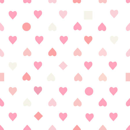 Vector seamless pattern with pink hearts on white background. For wallpaper, gift and wrapping paper, greeting card and wedding invitations, textile, fabric and linen, pajamas, web page. Ilustração