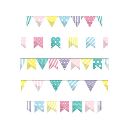 Vector illustration with isolated garland of hanging flags in cartoon style. Pennants for greeting cards, decoration design, celebration, birthday party invitation, web and advertising banner, mailing