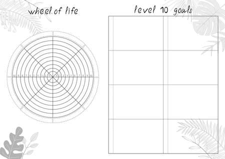 Vector illustration of tropical leaves and Wheel of Life - diagram with blank lines to fill. Printable A4 paper sheet for coaching tool, bullet journal page, daily planner template, blank for notebook