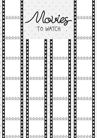 Printable A4 paper sheet with cine-film on polka dot background. Minimalist planner of watching movies and series for journal page, daily planner template, blank for notebook.