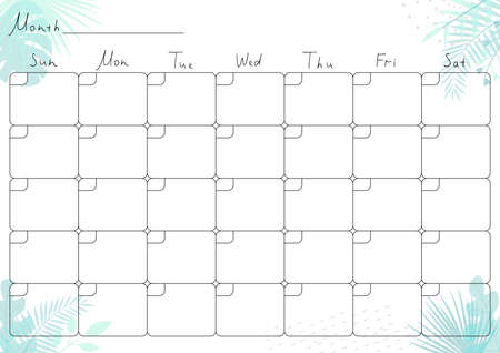 Printable A4 paper sheet with monthly planner blank to fill on background with tropical leaves. Minimalist planner for bullet journal page, habit tracker, daily planner template, blank for notebook. Ilustração