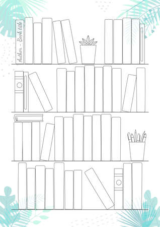Printable A4 paper sheet with bookshelves and books on background with tropical leaves. Minimalist planner of reading for journal page, habit tracker, daily planner template, blank for notebook.