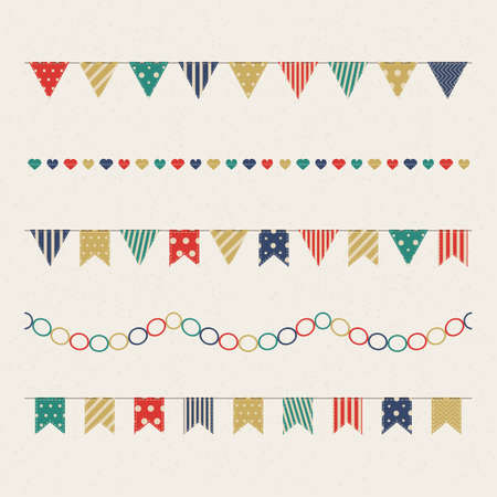 Vector set of isolated garland of hanging flags in vintage style. Clipart checkboxes for greeting cards, decoration design, celebration, birthday party invitation, web and advertising banner, mailing