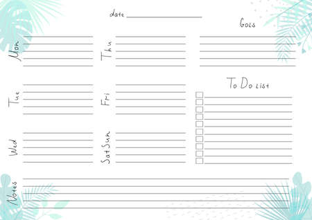 Printable A4 paper sheet with weekly planner blank to fill on background with tropical leaves. Minimalist planner for bullet journal page, habit tracker, daily planner template, blank for notebook.