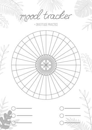 Printable A4 paper sheet with circle with blank lines to fill and tropical leaves. Minimalist planner of mood tracker, gratitude log, bullet journal page, daily planner template, blank for notebook.