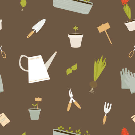 Vector seamless pattern with garden tools on brown background. For wallpapers, decoration, invitation, fabric, textile and print, cover, gift and wrapping paper.