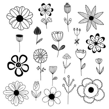 Vector set of black and simple isolated flowers on white background. For invitations, greeting cards, template for decorative stickers, banner, decoration design, print, design of page site, badges.