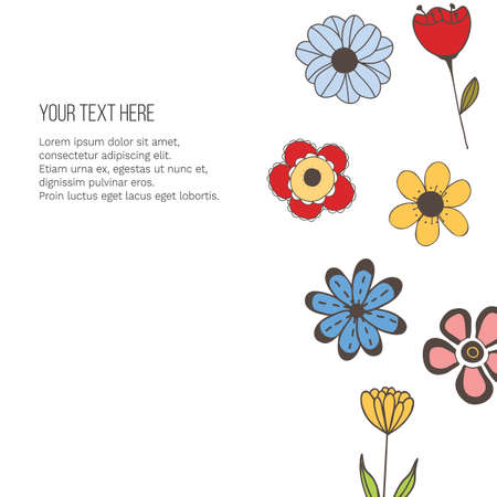 Vector banner with doodle style flowers and place for your text on white background.