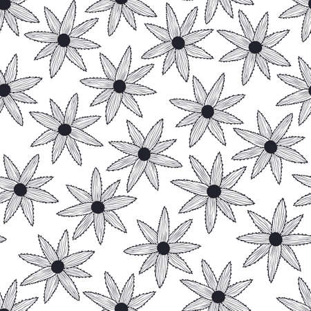 Vector seamless pattern with simple black flowers on white background. For wallpapers, decoration, invitation, fabric, textile and print, package design, gift and wrapping paper. Ilustração