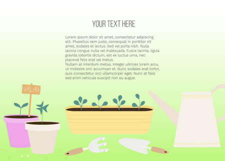 Vector banner with garden tools (watering can, flower pot, plants) and place for text on green background. Template for site, poster, web and advertising banner, article about garden, card or flyer.