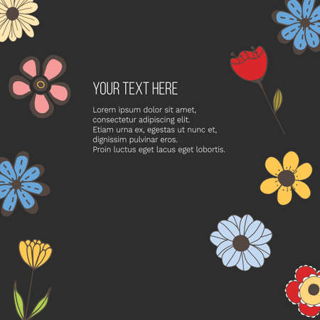 Vector banner with doodle style flowers and place for your text on black background. Template for site, poster, web and advertising banner, greeting or invitation card, flyer, mailing, package, cover