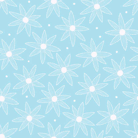 Vector seamless pattern with simple white flowers on blue background. For wallpapers, decoration, invitation, fabric, textile and print, package design, gift and wrapping paper.