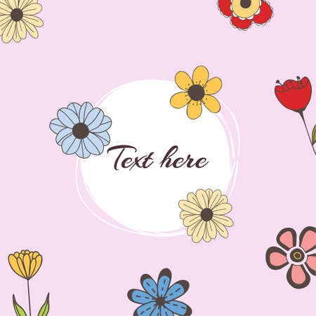 Vector banner with doodle style flowers and place for your text on pink background. Template for site, poster, web and advertising banner, greeting or invitation card, flyer, mailing, package, cover. Ilustração