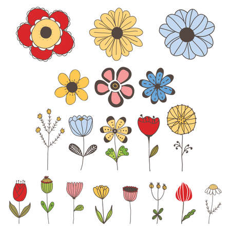 Vector set of simple, cute isolated flowers on white background. For invitations, greeting cards, template for decorative stickers, banner, decoration design, print, design of page site, badges.