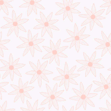 Vector seamless pattern with simple pink flowers on white background. For wallpapers, decoration, invitation, fabric, textile and print, package design, gift and wrapping paper. Ilustração