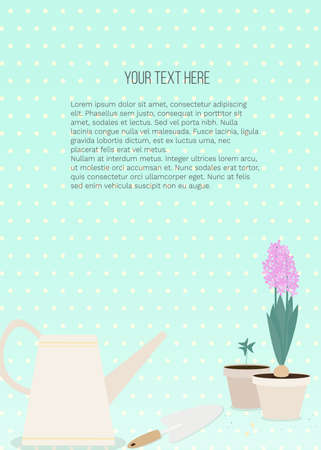 Vector banner with garden tools (watering can, flower pot, plants) and place for text on blue background. Template for site, poster, web and advertising banner, article about garden, card or flyer. Ilustração