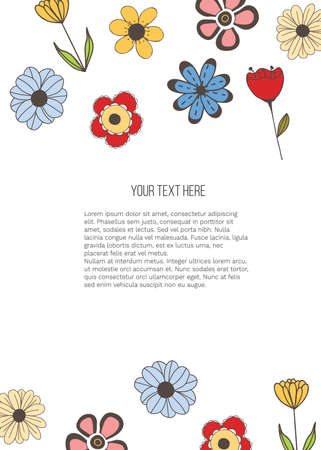 Vector banner with doodle style flowers and place for your text on white background. Template for site, poster, web and advertising banner, greeting or invitation card, flyer, mailing, package, cover