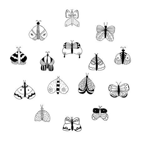 Vector set of black and simple isolated butterflies on white background. For invitations, greeting cards, template for decorative stickers, banner, decoration design, print, design page site, badges