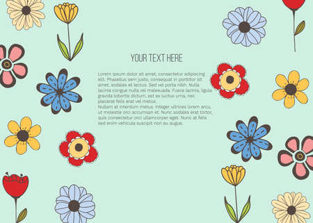 Vector banner with doodle style flowers and place for your text on green background. Template for site, poster, web and advertising banner, greeting or invitation card, flyer, mailing, package, cover