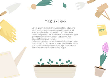 Vector banner with garden tools (watering can, flower pot, plants) and place for text on white background. Template for site, poster, web and advertising banner, article about garden, card or flyer.