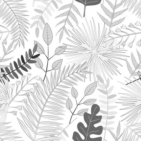 Seamless vector pattern with white and black tropical leaves. For wallpapers, decoration, invitation, fabric, textile and print, web page background, gift and wrapping paper.