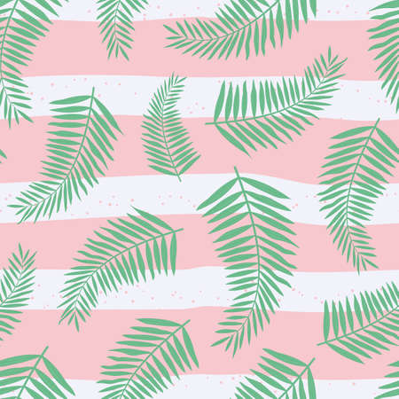 Vector seamless pattern with tropical leaves of palm on striped backdrop. For wallpapers, decoration, invitation, fabric, textile and print, web page background, gift and wrapping paper.