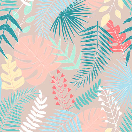 Seamless pattern with multicolored tropical leaves on beige background. For wallpapers, decoration, invitation, fabric, textile and print, web page background, gift and wrapping paper.