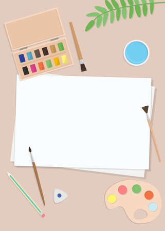 Vector illustration with sheets of paper, brushes, and palette. Flat cartoon style, top view. For poster, design of page site, web and advertising banner, article, card or flyer, promotional, mailing Ilustração