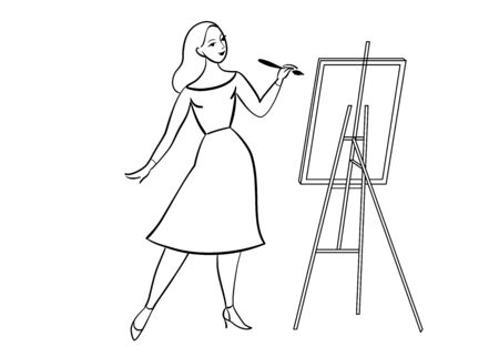 Young woman paints, oil canvas. Elegant girl. Linear drawing. Vector illustration 矢量图像