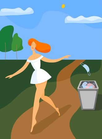 Girl walking and throws out medical mask. Quarantine is over. Vector illustration
