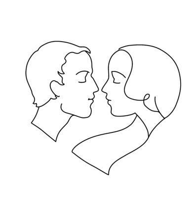 A drawing of a couple in love, heart shaped. Vector illustration Çizim