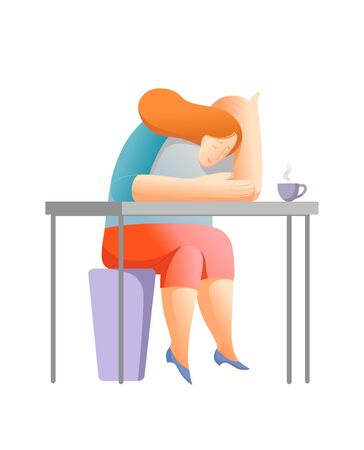 Office work, bored woman falling asleep. Flat illustration. Life in the city.