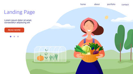Country life illustration. Woman with vegetables. Template for a landing page. Vector illustration