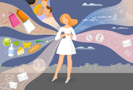 Girl with a phone. Modern life with a smartphone. Vector illustration