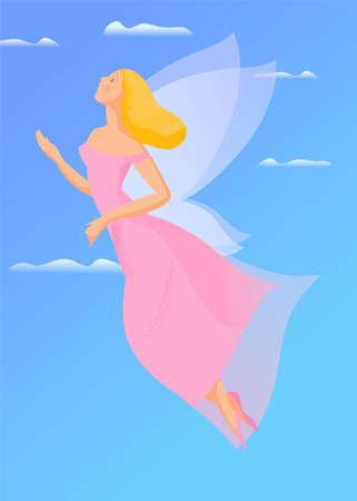 Hand drawn illustration, flying girl with wings. Vector illustration.