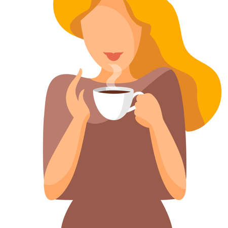 Woman with a cup of coffee. Flat style portrait. Vector illustration