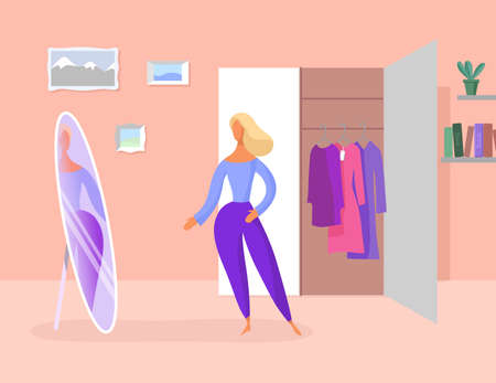 Woman tries on clothes. Looks at the mirror at home. A wardrobe in the room. Vector illustration