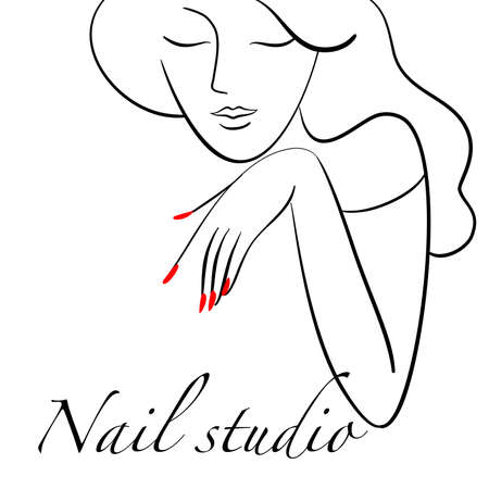 manicure salon, Portrait of a young attractive woman. Vector illustration