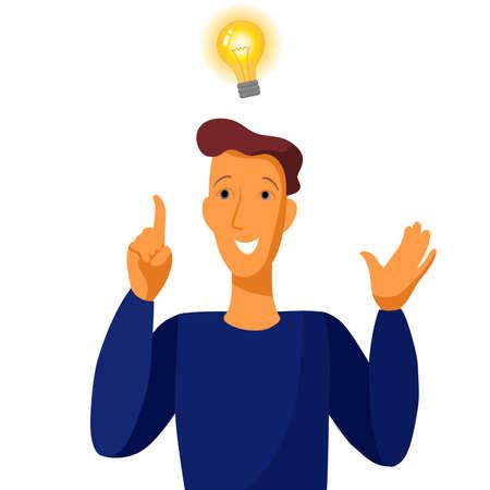 Good idea. Portrait of the man with a light bulb. Vector illustration