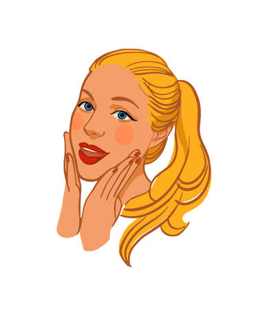 Surprised girl with hands in front of face. Portrait of beautiful young woman. Vector illustration